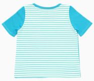 Kurzarm T- Shirt aus Baumwolljersey hinten gestreift