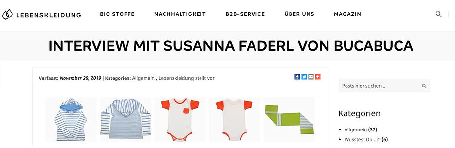 Interview mit Susanna Faderl von bucabuca.eu auf Lebenskleidung