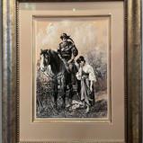 Original akvarell med romantisk motiv (58x73cm) av Oskar Herrfurth (1862-1934). Malt i 1888