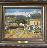 Oljemaleri med bonderomantisk motiv av Professor Hans Dahl (1849-1937).