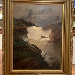 Oljemaleri med fossemotiv (66x82cm) av Philip Barlag (1840-1913). Ca. 1870