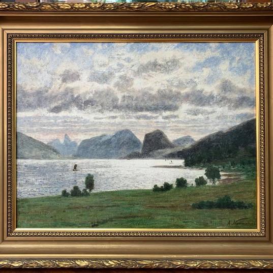 Oljemaleri med motiv fra Romsdalen (84x70cm) av Adelsteen Normann (1848-1918). Ca. 1890
