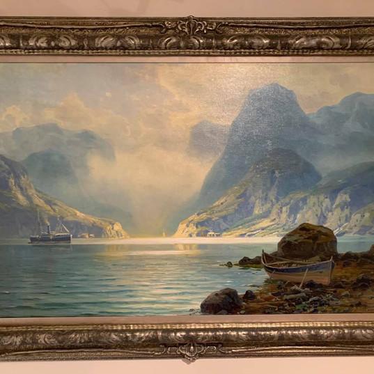 Oljemaleri med motiv fra Trollfjorden (142x101cm) av Professor Johannes Harders (1871-1950). Ca. 1910