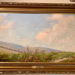 Oljemaleri med landlig motiv (98x67cm) av Professor Hans Dahl (1849-1937). Ca. 1890