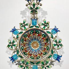 Tesil i forgylt 925 sølv, filigran & plique-a-jour. Ca. 1900. Design Gustav Gaudernack