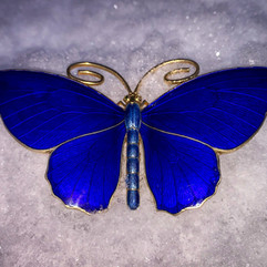 Sommerfugl (8cm) i forgylt 930 sølv & emalje. Ca. 1900