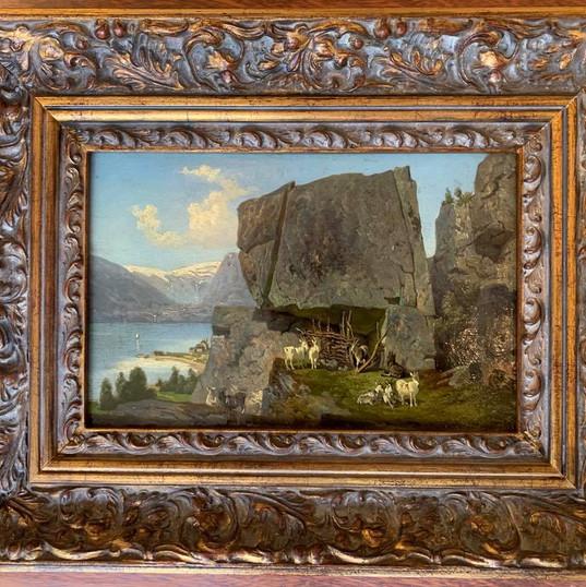 Oljemaleri med motiv fra Sogn (48x37cm) av Johan Wilhelm Cordes (1824-1869). Malt i 1854