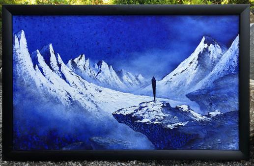 Oljemaleri med tittelen «Hyllest til Fjellene» (107x67cm)
