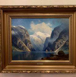 Oljemaleri med motiv fra Nærøyfjorden (68x56cm) av Professor Johannes Harders (1871-1950). Ca. 1900