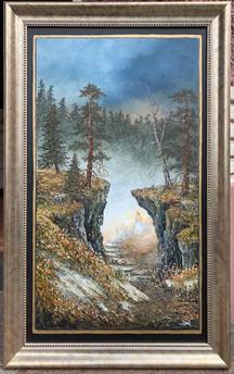 Oljemaleri med tittelen «Mystikkens Portal» (70x110cm)