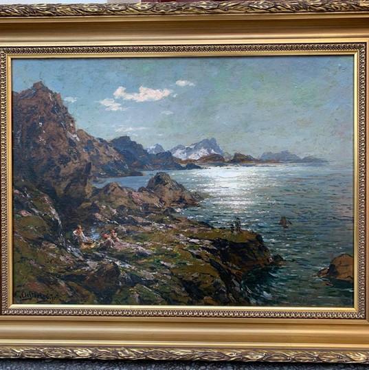 Oljemaleri med motiv fra Vestfjord (87x69cm) av Carl August Oesterley Jr. (1839-1930). Ca. 1890