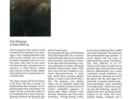 Review of Exhibitions – Eric Holzman at Jason McCoy