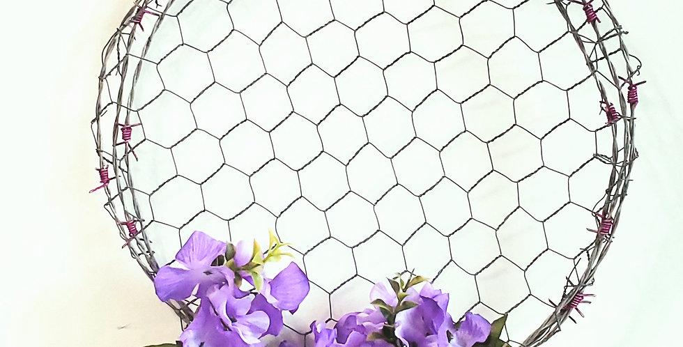 Floral Barbed Wire Wreath w/Chicken Wire