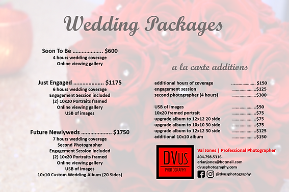 DVus Photography Wedding Packages