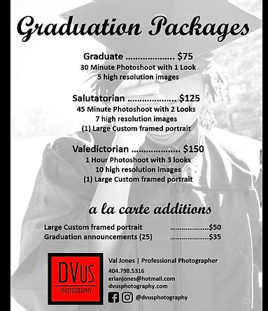 DVus Photography Graduation Pricing