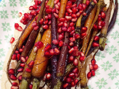 Roasted Baby Carrots with Pomegranate and Hummus
