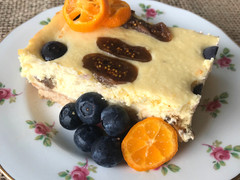 Blueberry, Fig & Zesty Mandarin Baked Yoghurt Cheesecake Slice