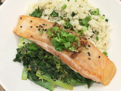 Seared Salmon with Coriander Coconut Rice & Ginger Stir Fried Greens