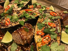 Sticky Chilli Eggplant and Pork with Fresh Asian Herbs - ONE TRAY BAKE
