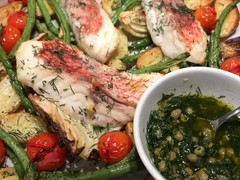 Snapper and Winter Veggies with Dill & Caper Drizzle - ONE TRAY BAKE