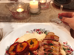 Duck with Celeriac Purée & Thyme Roasted Plums