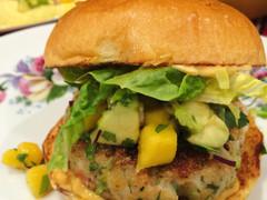 Prawn Burgers with Mango Salsa and Habanero Mayonnaise