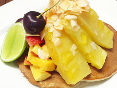 Buckwheat Pancakes with Vanilla Bean Roasted Pineapple