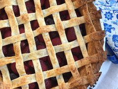 Rhubarb, Cherry & Strawberry Balsamic Pie