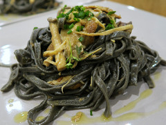 Squid ink linguine with porcini and mixed mushrooms