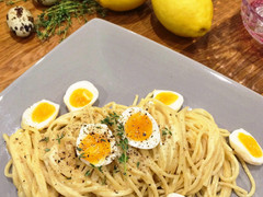 Creamy Roasted Garlic Linguine with Thyme and Quail Eggs