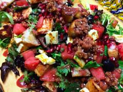 Watermelon, Halloumi, Bread & Caper Salad