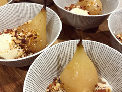 Vanilla & Cinnamon Poached Pears with Salted Pear Caramel + Roasted Citrus Nuts