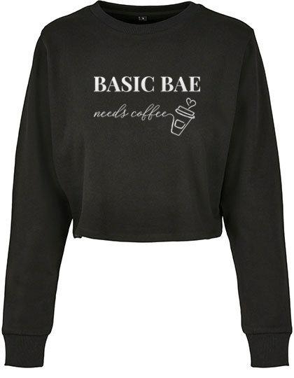 Cropped Sweater 'Basic Bae needs coffee'