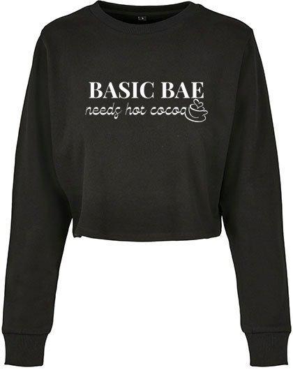 Cropped Sweater 'Basic Bae needs hot cocoa'