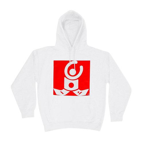 White Hoodie / White logo on red