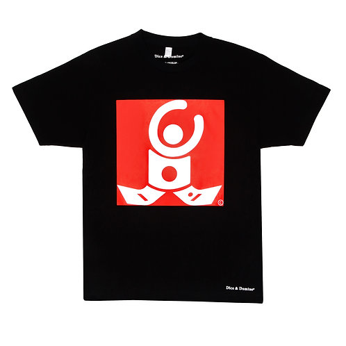 T-Shirt / Black / White logo on red