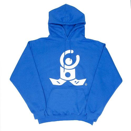 Blue Hoodie / White logo