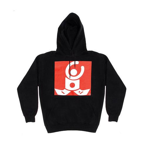 Black Hoodie / White logo on red