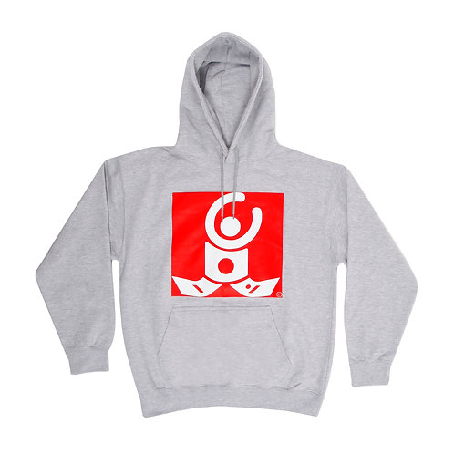 Heather Grey Hoodie / White logo on red