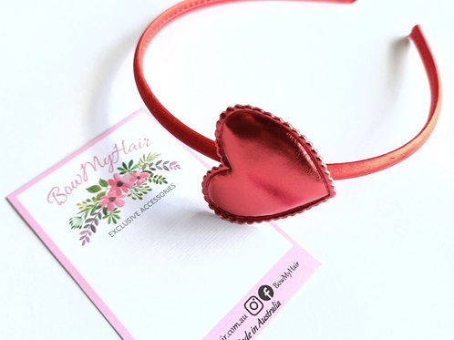 Glistening Red Love Heart Head Band