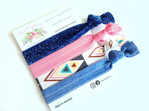 Hair Ties - Glitter Blue / Bohemian