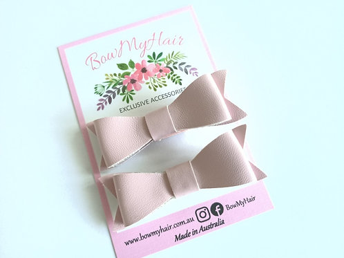 Baby Pink Faux Leather Hair Clip