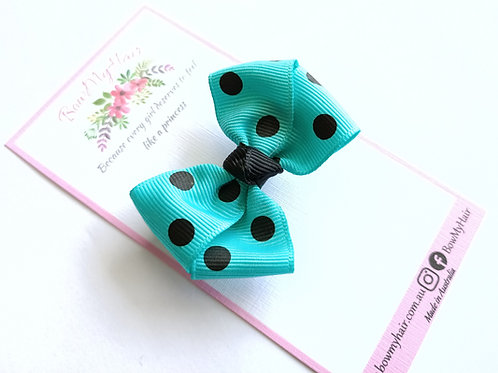 Teal Polka Dot Mini-Bow