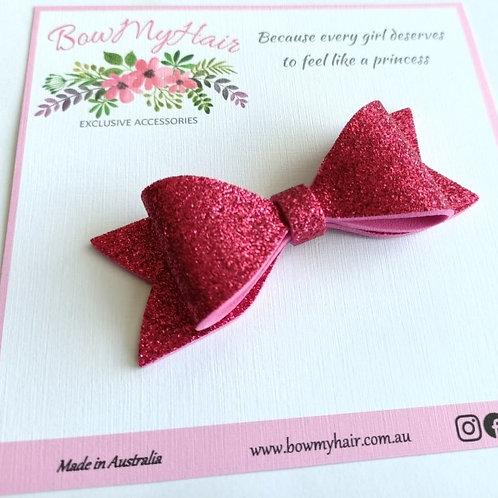 Hot Pink Glitter Hair Bow