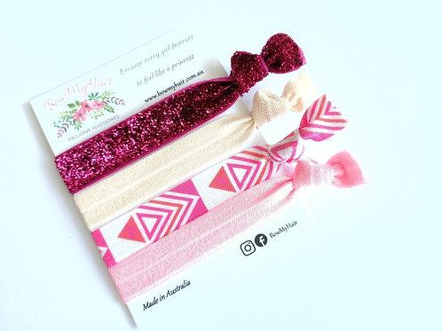 Hair Ties - Glitter Pink / Bohemian
