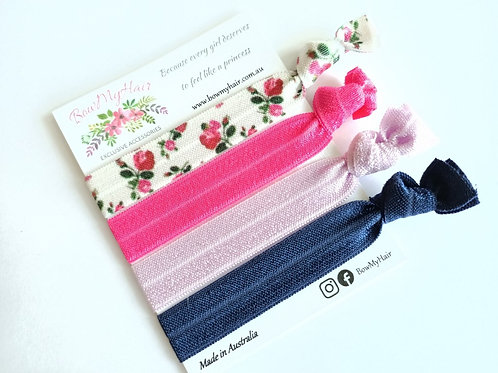 Hair Ties - Flowers / Pink / Navy