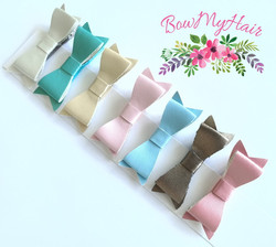 Hair clips leather mini bows pink blue g