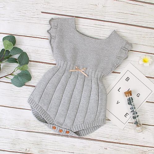 Flutter Sleeve knit romper in Grey or Pink