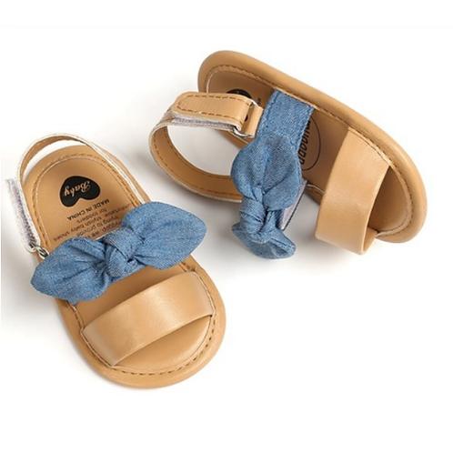 Denim Bow & Tan Strap Soft Sole Baby & Toddler Sandals