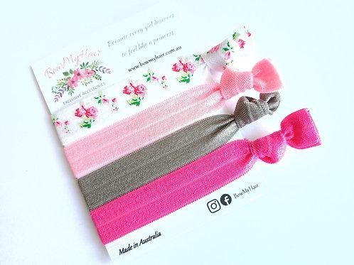 Hair Ties - Floral / Hot Pink